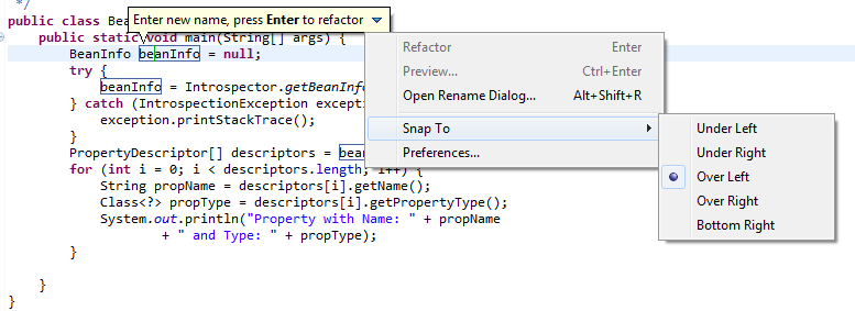 Eclipse Rename Variable using ALT + SHIFT + R