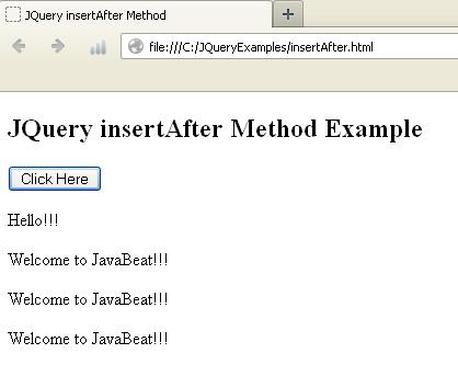 JQuery Insert After Method