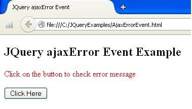 JQuery Ajax Error Example