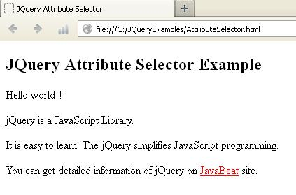 JQuery Attribute Selector