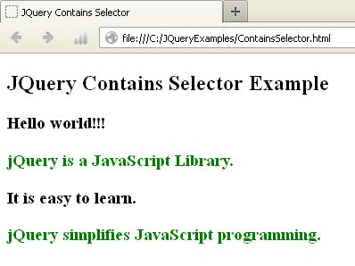 JQuery Contains Selector Example