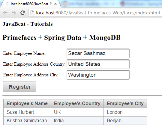 Primefaces + Spring Data + MongoDB Example 1