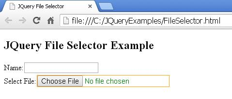 JQuery File Selector Example