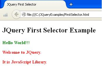 JQuery First Selector Example