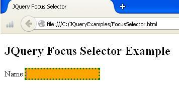 JQuery Focus Selector Demo