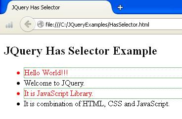 JQuery Has Selector Demo