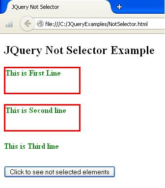 JQuery Not Selector Example
