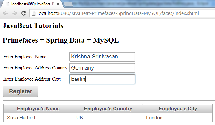 Primefaces Spring Data Registration View