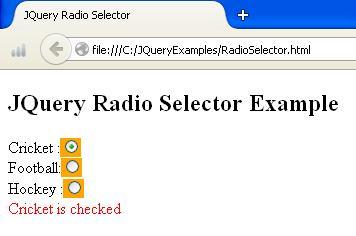 JQuery Radio Selector Example