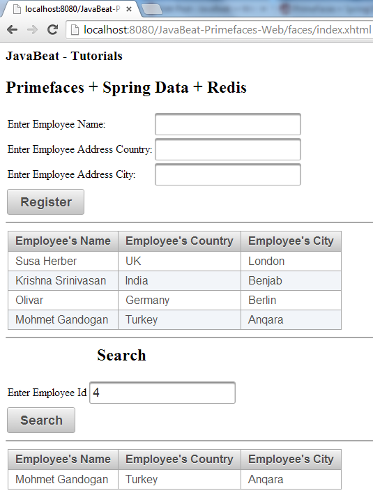PrimeFaces and Spring Data and Redis Integration - Search