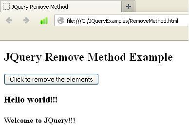 Jquery Remove Method