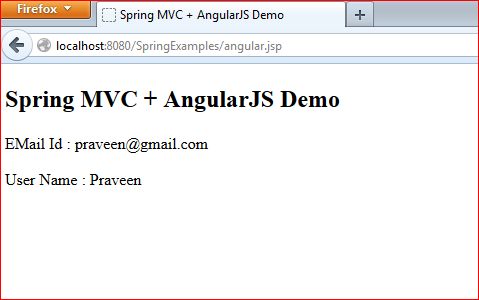 Spring MVC and AngularJS Integration Example