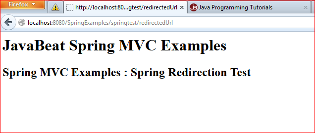 Spring MVC Redirection Example
