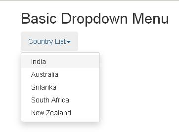 Bootstrap Basic Dropdown Menu Example