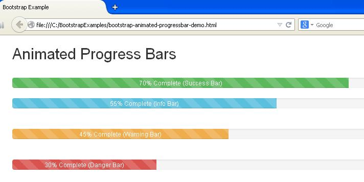 Bootstrap Animated Progress Bars Example