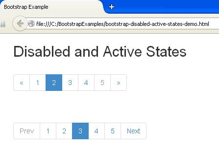 Bootstrap Disabled and Active States Example