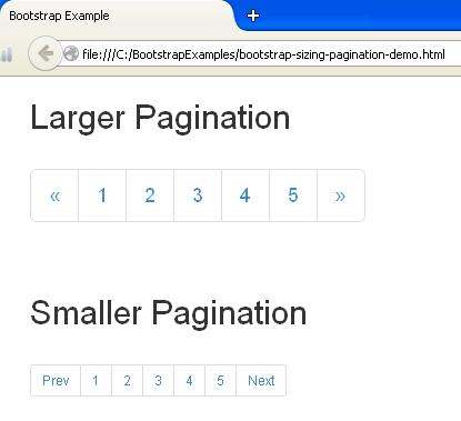 Bootstrap Sizing Pagination Example