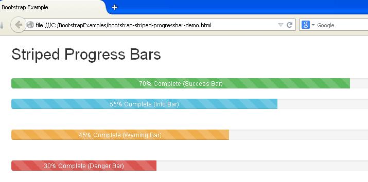 Bootstrap Striped Progress Bars Example