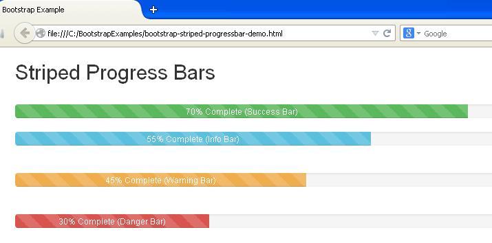 Bootstrap Striped Progress Bars Example
