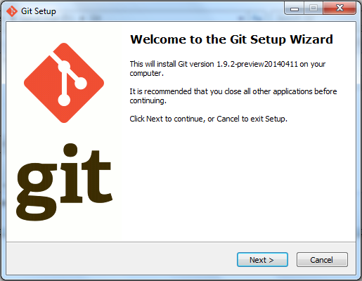 Git Initial Screen