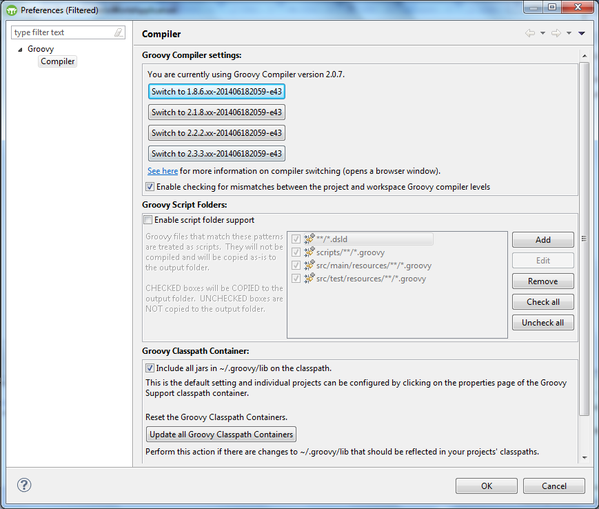 Grails - Configure Workspace Settings - Select the required compiler