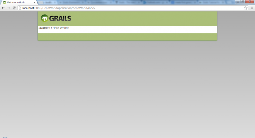 Grails - Hello World Groovy Server Page View