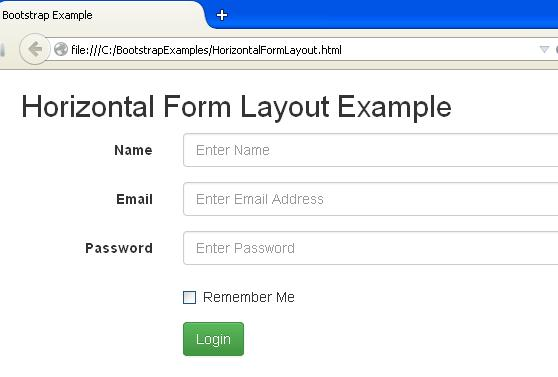 Bootstrap Horizontal Form Picture
