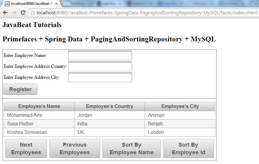 PagingAndSortingRepository - Sorting By Employee Id