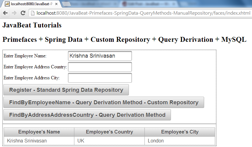 Spring Data - Custom Repository - Query Derivation - Demo II