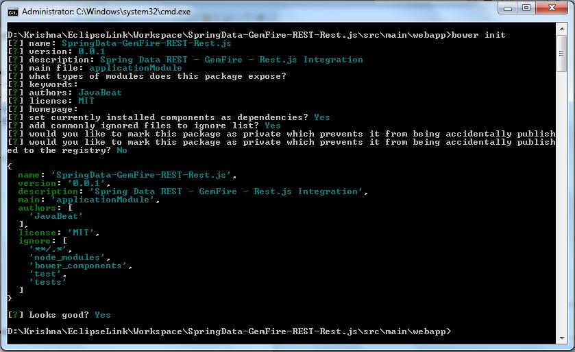 Spring Data REST - GemFire - Rest.js Integration - Bower Init - Command Execution
