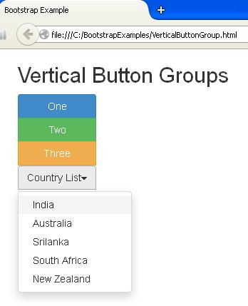 Bootstrap Vertical Button Groups Example