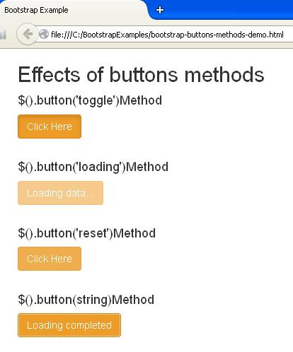Bootstrap Button Methods Example