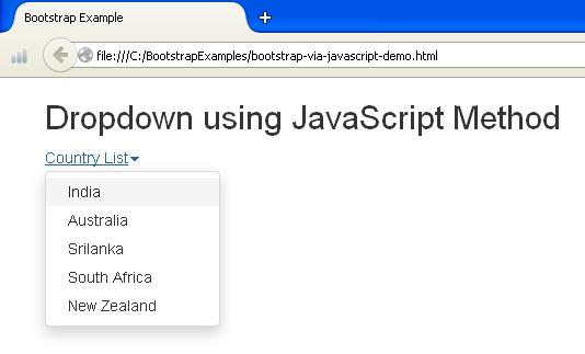 Bootstrap Dropdown using JavaScript Example