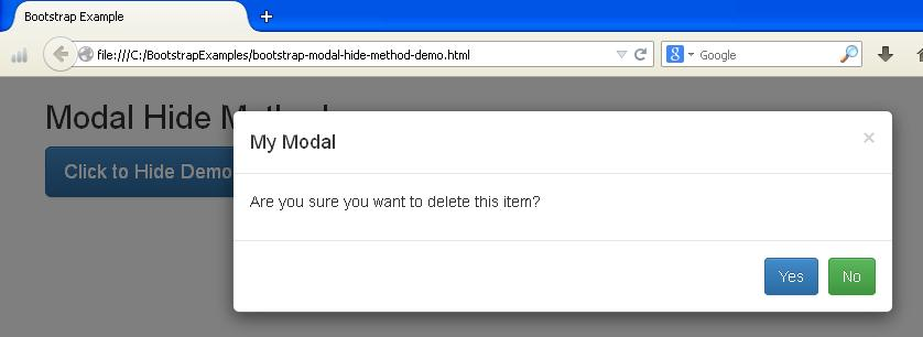 Bootstrap Modal Method Example