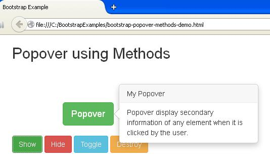 Bootstrap Popover using Methods Example