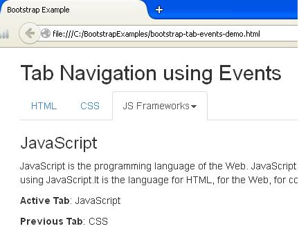 Bootstrap Tab Events Example