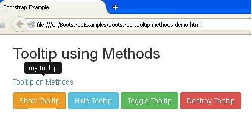 Bootstrap Tooltip using Methods Example