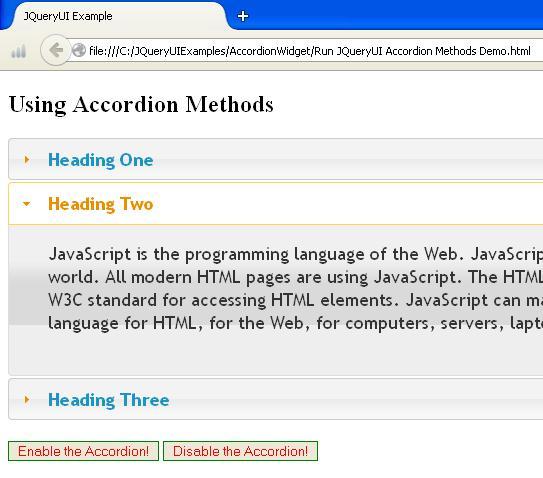JQueyUI Accordion Methods Example