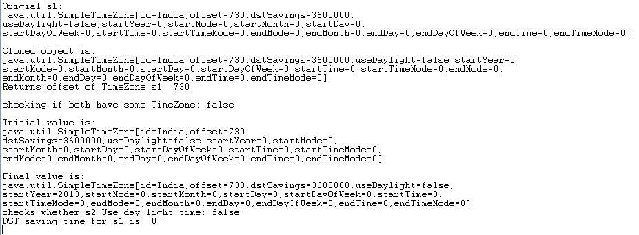 Java SimpleTimeZone Example 2